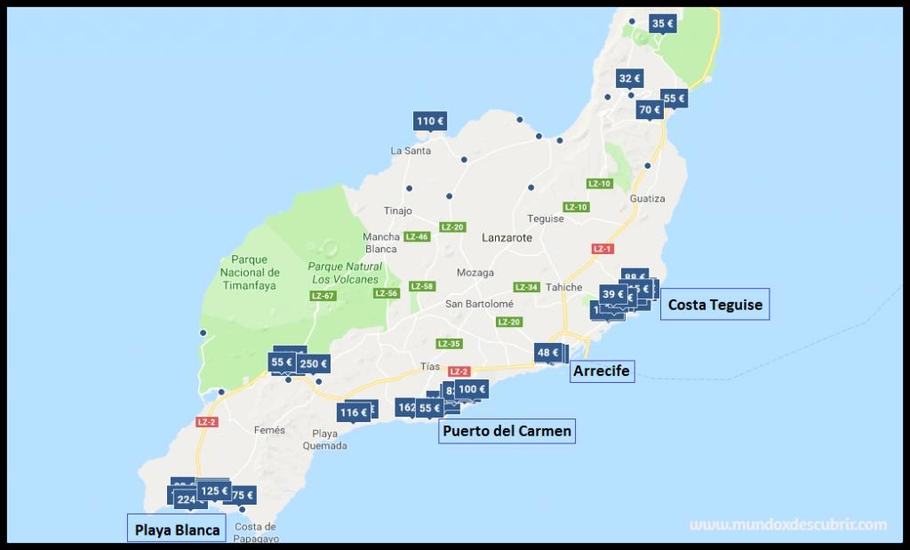 Mapa alojamiento - precios en Lanzarote