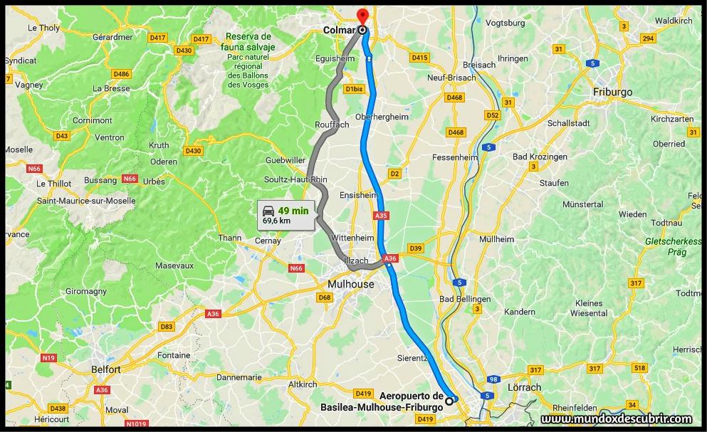 Distancia entre el Aeropuerto de Basel – Mulhouse – Friburgo hasta Colmar en coche