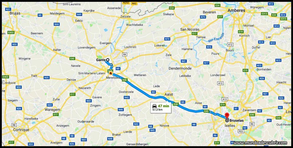 Mapa distancia entre Gante y Bruselas