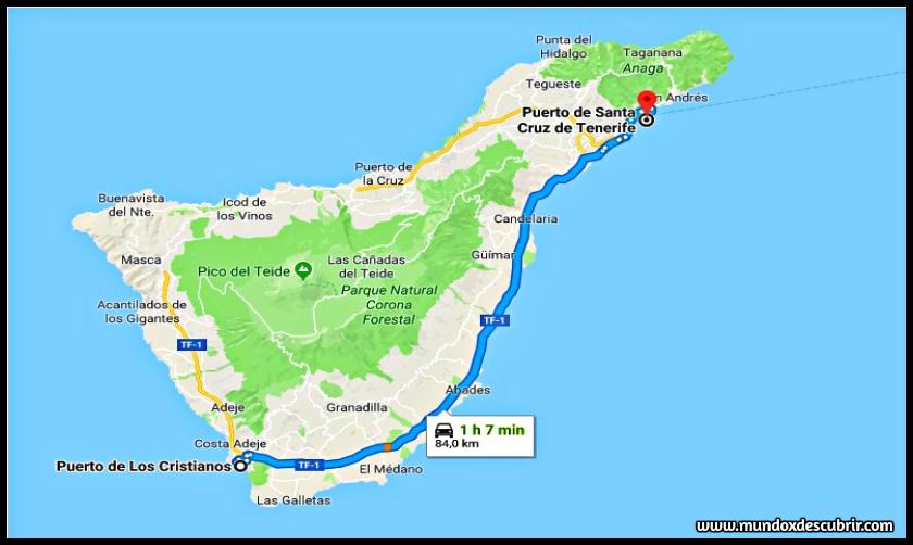 Mapa puertos de la isla de Tenerife